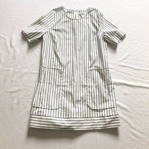 Avec les filles striped midi dress sz:L white